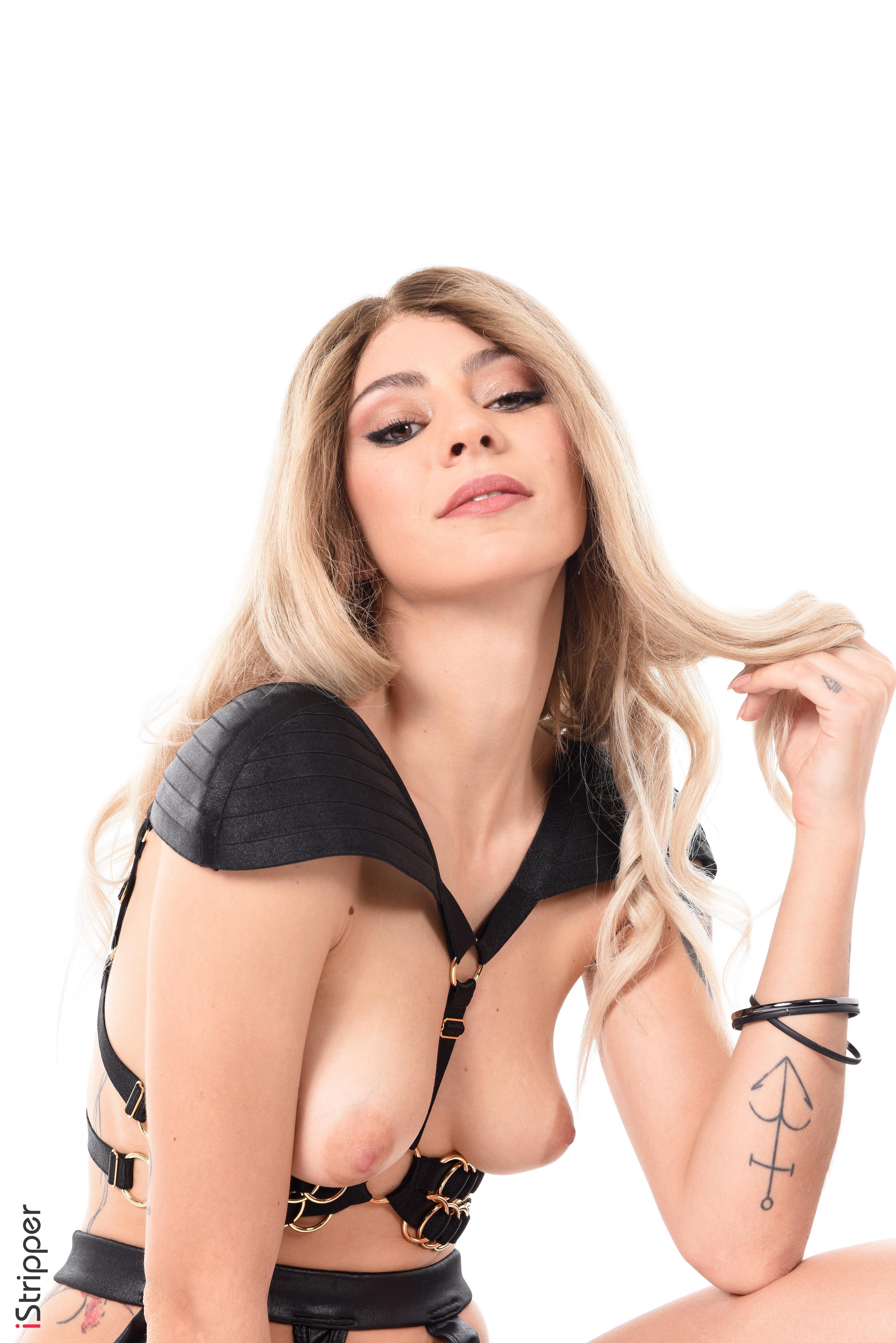 sexy brunette striptease